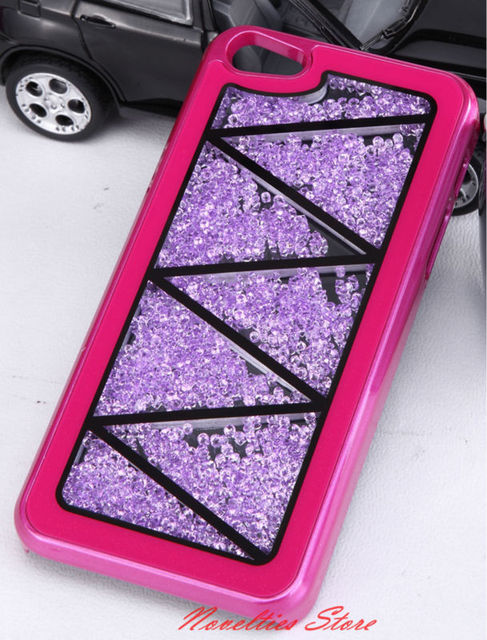 Fashion Mobile Case Movable Crystal Hard Back Cover Bling Swarovski Design Case for iPhone 5 with PVC Retail Package, 1pc/lot