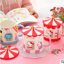 Kawaii Circus Ceramic Lovers Coffee Cup Milk Water Mug with Cup Cover TRD
