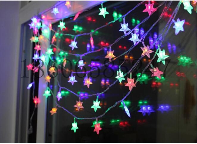 Festive Christmas LED lights / flashing lights / colorful five-pointed star string lights / 100 plug with tail lights(China (Mainland))