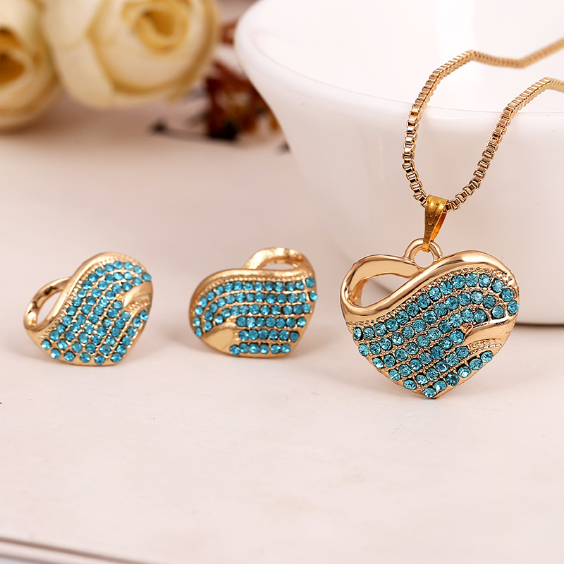 Gold plated Jewelry Sets Fashion Accessories Heart Necklaces Earrings with FULL Austrian Crystal For Woamn Girls Gift Jewelry()