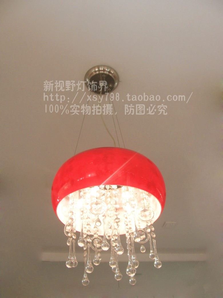 2014 frp new arrival fashion modern crystal pendant light red restaurant lamp fresh brief bedroom lights 9006 - 3 free shipping(China (Mainland))