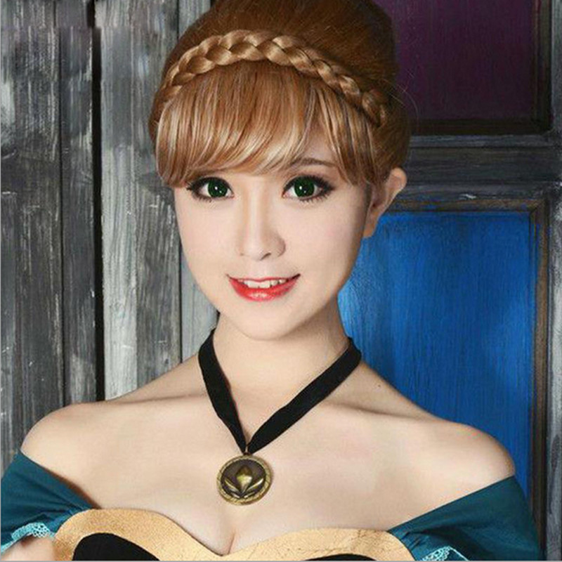 Beauty World New Arrival Fashionable Movie Forzen Character Cosplay ANNA Braided Hair Synthetic Fibre Wig Free Shipping(China (Mainland))