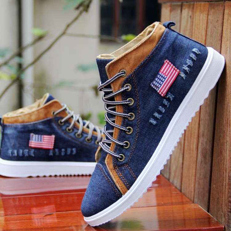 Fashion Breathable High-top Cowboy Men Canvas Shoes Denim Sewing Flat Casual Sneakers Man Shoes Large Size(China (Mainland))