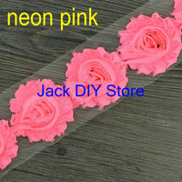 "Free Shipping 2yards/lot neon colors 42colors  2.5""shabby chiffon rose trim,chiffon frayed flowers,hair accessories"