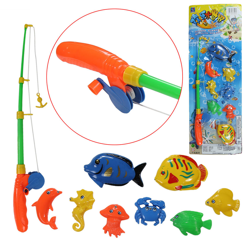 Magnetic fishing game set toy rod 8 fish catch hook pull for Fishing games for kids free
