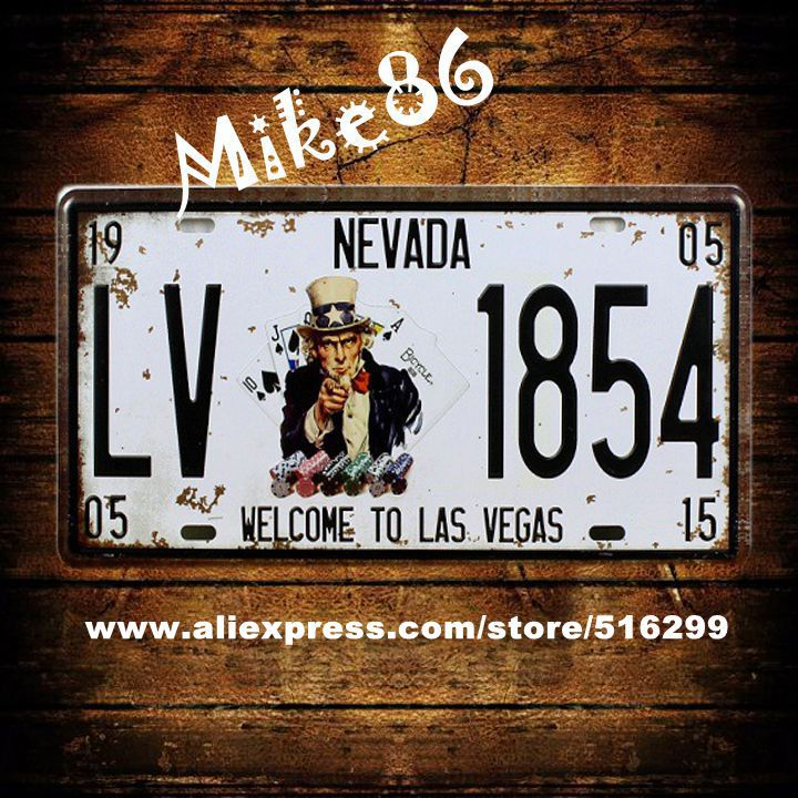 [ Mike86 ] LV 1854 NEVADA CARS License Plates Vintage Art Wall Plaque decor Bar Painting PUB Cafe D-139 Mix order 30*15 CM(China (Mainland))