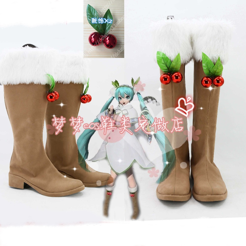 VOCALOID Hatsune Miku snow miku Lily of the valley ver Cosplay Shoes Halloween Anime Custom-made cosplay BootsОдежда и ак�е��уары<br><br><br>Aliexpress