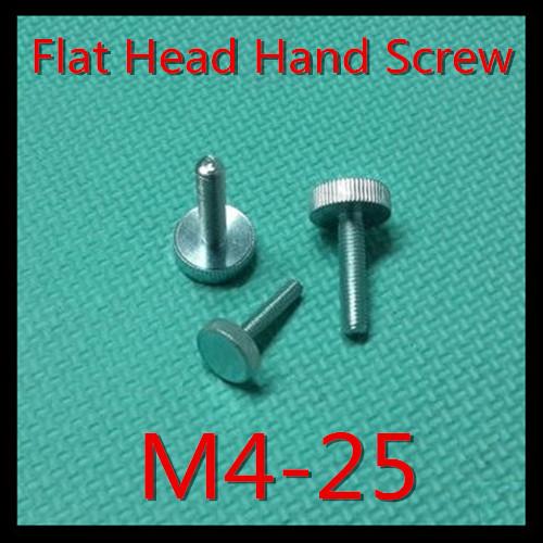 100 Pcs/Lot M4X25 Flat Head Thumb Screw /Round Head Knurling Hand Twist Screw/Hand Tighten Screws<br><br>Aliexpress