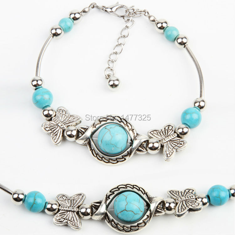 New Arrive Turquoise Beads Silver Plated Butterfly Bracelet Handmade Accessories Fashion Jewelry(China (Mainland))