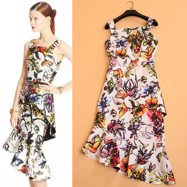 Plus Size XXL 2015 Summer Brand Runway Dresses Sleeveless Floral Print Spaghetti Strap Irregular Sexy Slim Print Dress for WomenОдежда и ак�е��уары<br><br><br>Aliexpress