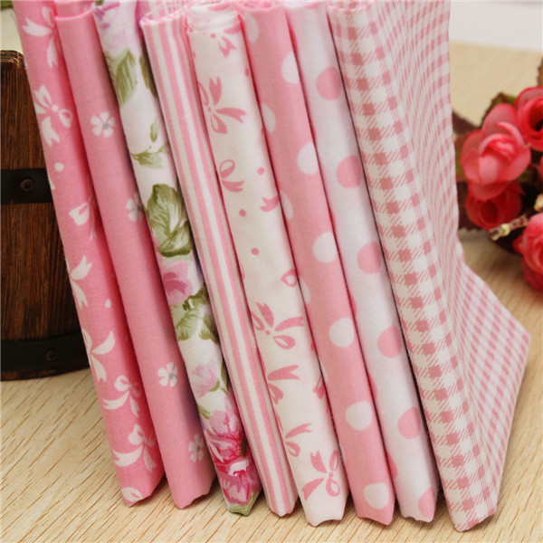 8pcs pink cotton fabric floral cloth patchwork textile for tilda sewing material tissues tecido(China (Mainland))