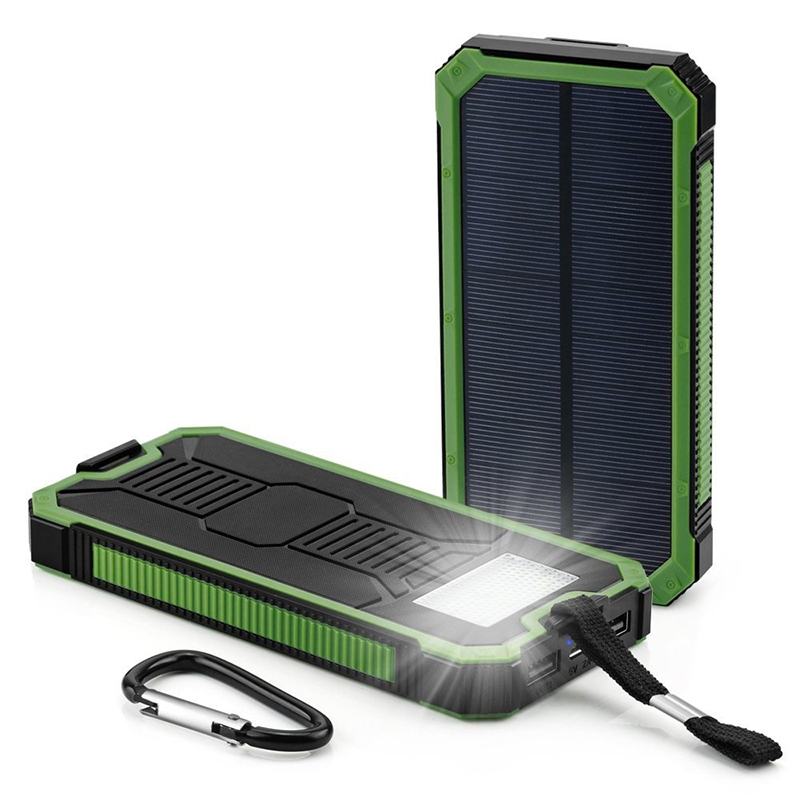 Waterproof mbbile power 10000mah Portable Solar Charger Power Bank External battery packs LED lighting outdoor for Cell phone(China (Mainland))