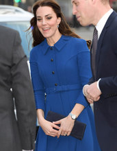 Buy 2017 Spring New Kate Middleton Princess Dress Fashion A-Line blue work dresses for $87.12 in AliExpress store