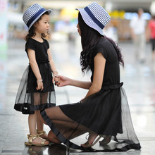 2016 Summer Family Matching Outfits Black Chiffon Thin Mom and Daughter Dress Girls Dress Girls Clothing Mother and Child Dress