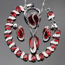 2018 roten Steinen Silber 925 Brautschmuck Sets Für Frauen Damen Hochzeit Zirkonia Armband Neclace Ring Set Schmuck Geschenk-box(Hong Kong,China)