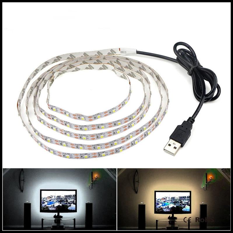 5V-50CM-1M-2M-3M-4M-5M-USB-Cable-Power-LED-strip-light-lamp-SMD-3528
