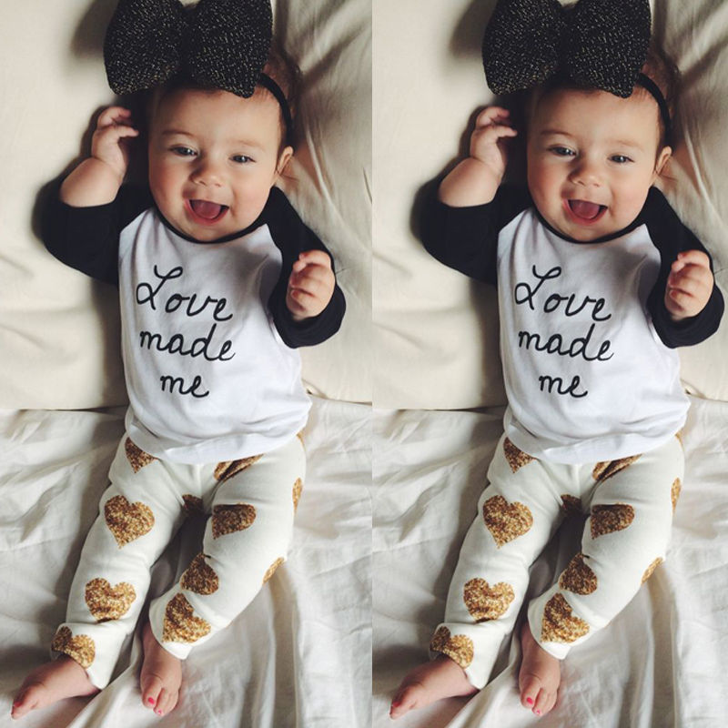 2016 New Boys Girls Unisex Cotton Soft Casual Toddler White Black Full Sleeve Letter Print T-Shirt+Heart Pattern pants 2pcs Sets(China (Mainland))