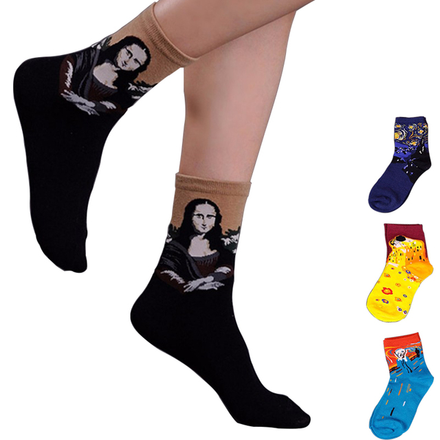 Мода Женщин И Мужчин Носки Картин Носки Мона Лиза Крик Звездная Ночь Короткие Носки ...