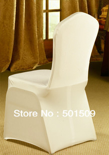 wholesale 100pcs wedding white elastic chair cover wedding chair decoration cover(China (Mainland))