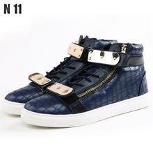 Drop Shipping 2016 High Quality Men Women Men Gz Neutral Gold High-top Shoes Moccasin Zipper Cuffs Casual Shoe Zapatos Hombre(China (Mainland))