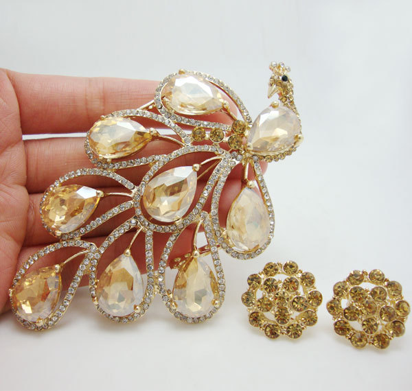 Vintage Fashion Nigerian African Style Peacock Bird Brooch Pin Earrings Set Topaz Crystal Rhinestone Bird(China (Mainland))