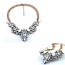 by dhl or ems 300 pieces Fashion Brand White Crystal Flower Statement Chokers Necklace Factory Wholesale(China (Mainland))