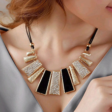 Hot Sales 2015 New Fashion Ladies Design Beads Braided Rope Necklace Women Accesories Enamel Bib Leather Necklace(China (Mainland))