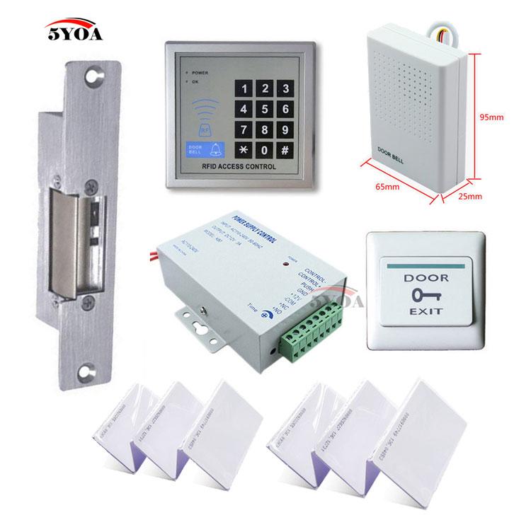 RFID Access Control System Kit Set + Strike Door Lock + ID Card Keytab + Power + Exit Button(China (Mainland))