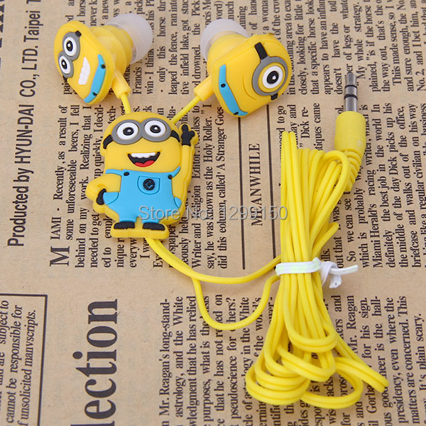 Noise isolating 3.5MM Cartoon Despicable Me Minions Headphone Universal Earphone Headset for MP3/MP4 player fone de ouvido(China (Mainland))