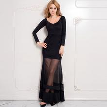 Rw70229 женский клуб платья 2016 модный дизайн fit и вспышки с длинным рукавом платье популярные Большой размер макси черное платье
