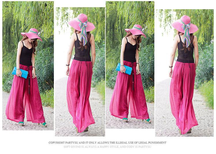 Gofuly 2015 New Fashion Lady Wide Leg Chiffon High Waist Pants Long Loose Culottes Trousers Hot Sale(China (Mainland))