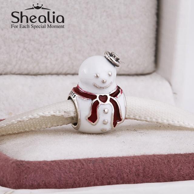 2014 новый белый эмаль рождественский снеговик подвески стерлингового серебра 925 ювелирных украшений для женщин браслеты сделай сам ювелирное рождественский подарок