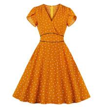 Joineles элегантный стиль розовый оранжевый крошечный принт женское ретро платье Сексуальное V образным вырезом с короткими рукавами карманы ж...(China)