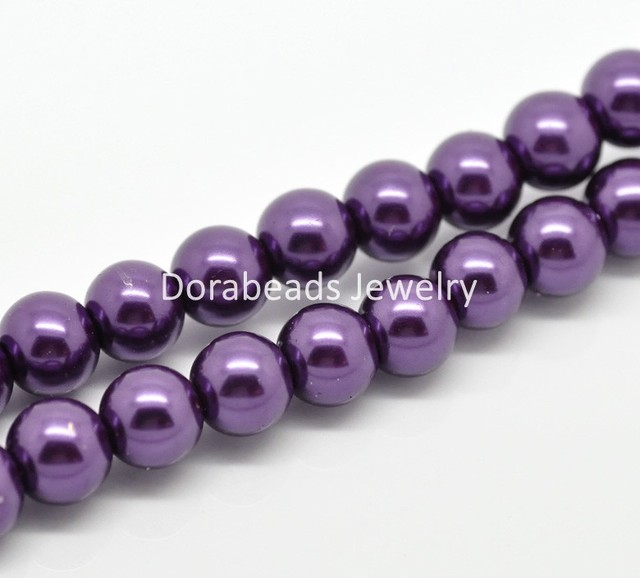 "8SEASONS 2 Strands Dark Purple Glass imitation pearls Round Beads 10mm( 3/8"") Dia.  (B19350)"