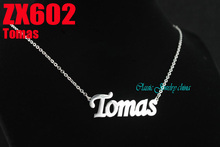 """Tomas"" The World Cup letter chain with 2mm cross chain 18""-26"" length stainless steel necklace fashion jewelry 20pc ZX602(China (Mainland))"