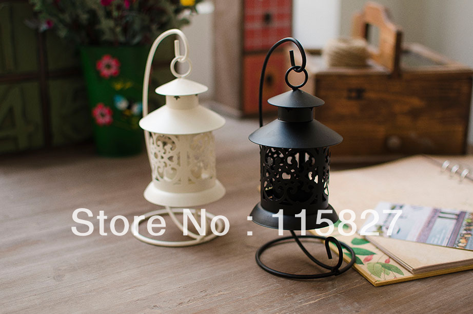 Free Shipping!Vintage Design Classical Candle Holder Iron lantern Iron Candle Holder With Hanger House decoration white artcraft(China (Mainland))