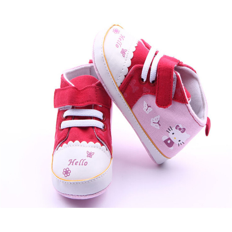 Cute Kitty Anti-slip Soft Soled Sneakers Baby Girl Canvas Shoes Kids Footwear Prewalkers Classic Sports Sneakers Bebe Shoes 0-1Y(China (Mainland))