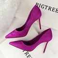 New Women Pumps Classic High Heels Shoes Fashion Suede Flock Purple Sexy Slim Pointed OL Office