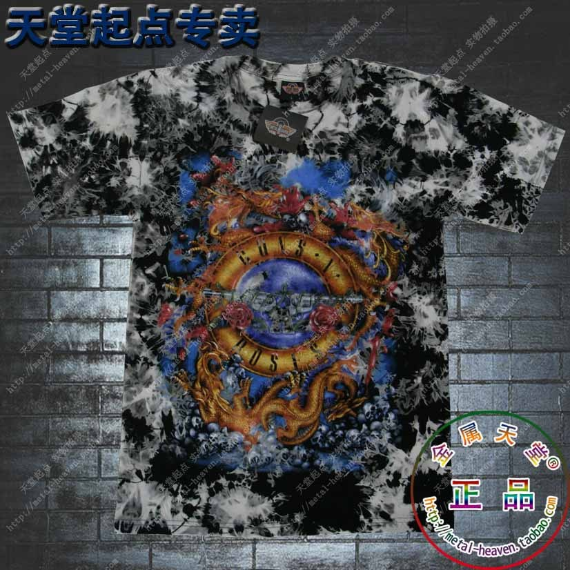 high quality rock tshirt O-neck Camouflage 100% tie-dyeing cotton band guns roses t-shirt summer tee(China (Mainland))
