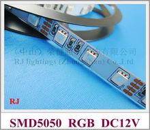 RGB led strip non-waterproof IP20 SMD 5050 RGB LED strip light flexible strip soft strip DC12V SMD5050 60 led 14.4W IP20 CE(China (Mainland))