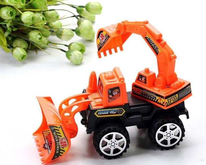 Big size children vehicle excavator styling Kids Toys Factory Inertia trailer/ Double trumpet Truck tractors toy, free shipping(China (Mainland))