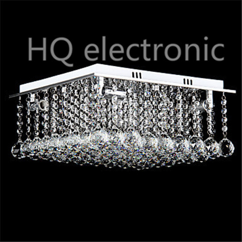 Cubic Crystal Ceiling Light Lamp Stainless Steel Modern LED With 4 Lights For Living Room Lustres De Sala Free Shipping(China (Mainland))