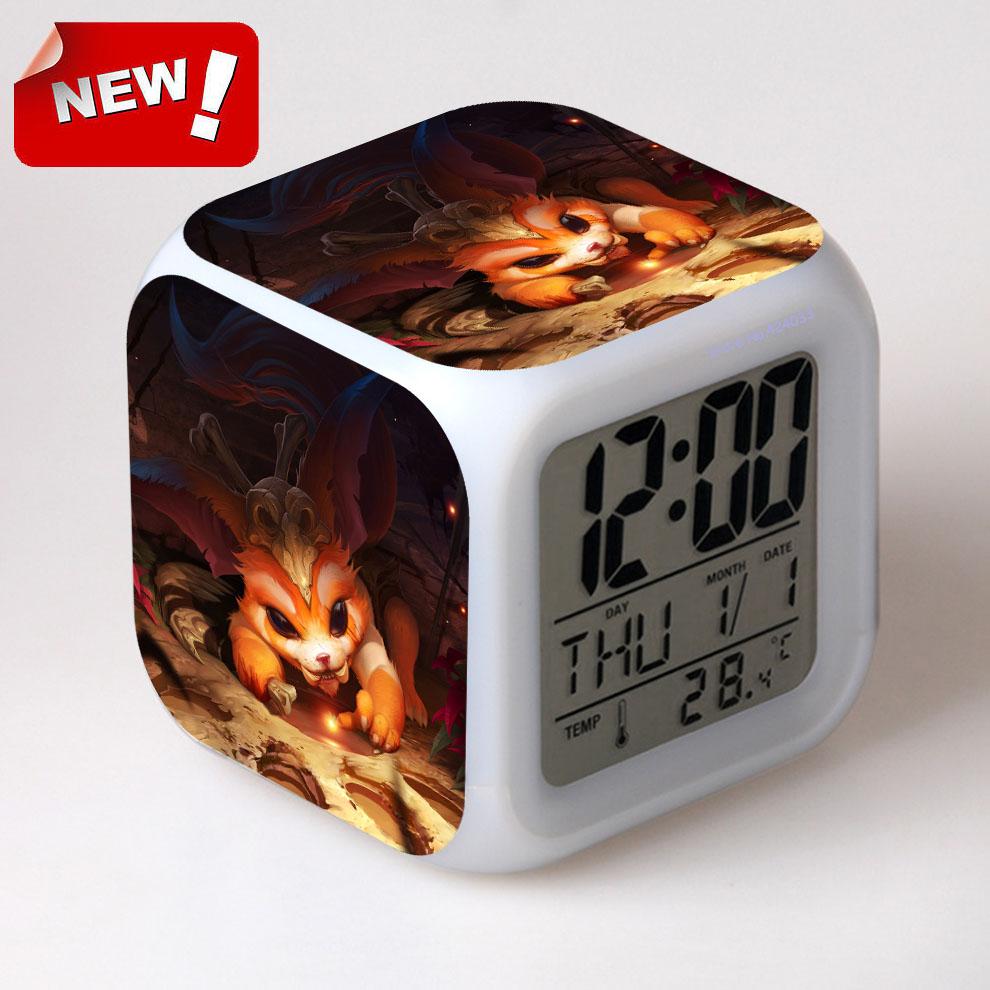 Gnar for LOL Alarm Clock Led Light 7 Color Change Lcd Display Watch Klok Projection Clock Square Reloj Despertador Digital(China (Mainland))