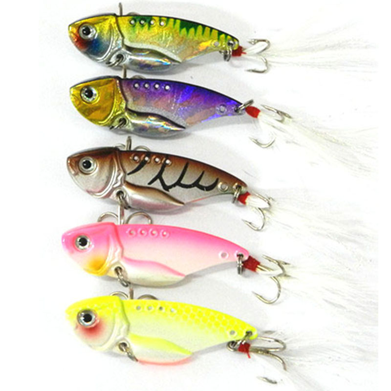 5.5CM 11G 8#feather hooks VIB fishing baits hard metal lures wobble pike bass isca de pesca tackles - Tong Cheng's store