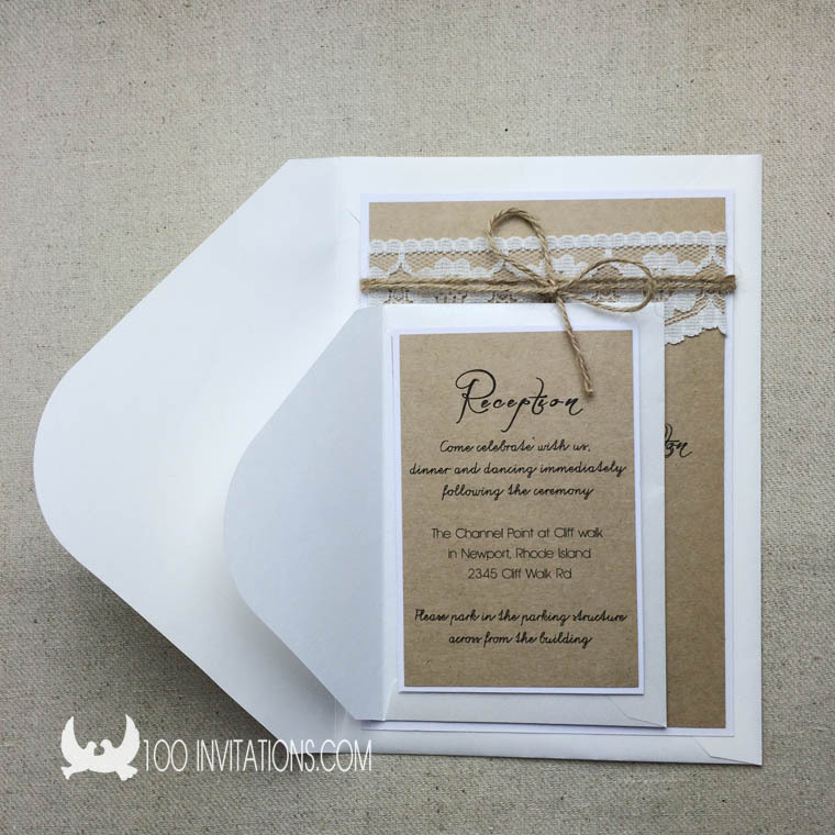 Vintage Lace Wedding Invitations Decorate With Twine Bow ,Wedding Invitation Set Including RSVP Cards and Envelopes(China (Mainland))