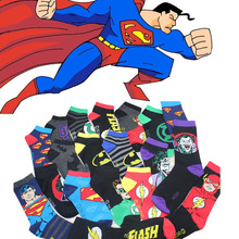 2014 New free shipping cotton Material Men and women same section Fall ship socks Superman Cartoon Invisible stocking