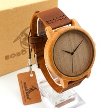 Brown Genuine Leather Band Wood Bamboo Watch for Men and Women with BoBo Paper Gift Watches Box New and Tags