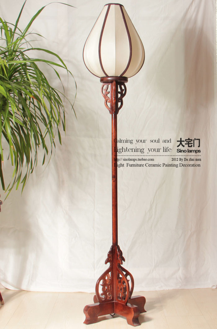 Chinese rustic style floor lamp classical palace lanterns for Oriental wood floor lamp