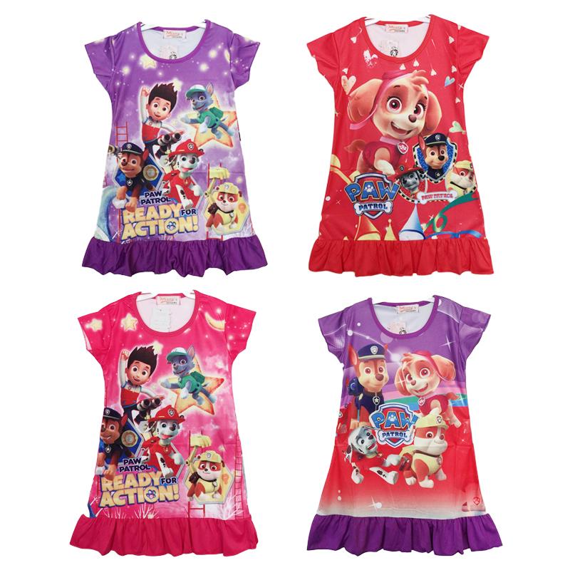2016 New summer short sleeve Kids Cartoon dog Paw printed Patrol pattern sleepwear for girls nightgown 60 pcs lot(China (Mainland))
