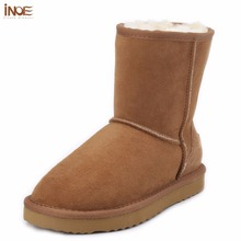 INOE sheepskin leather suede snow boots for women nature fur wool lined men winter shoes high quality brown 35-45 free shipping(China (Mainland))